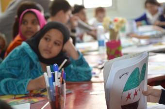 Syrische vluchtelingekinderen op Egyptische school