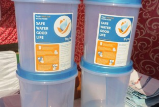 Safe drinking water filters on display at the Let's run together race