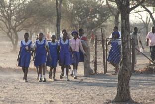 Group of schoolgirls on their way from school in Chiredzi.