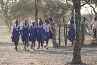 Group of schoolgirls on their way from school in Chiredzi.
